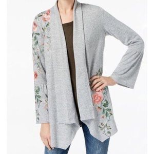 INC concepts embroidered bell sleeve cardigan